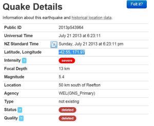 Quake at Reefton