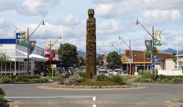 A statue on the main street of Opotiki commemorating the progress of civilisation,