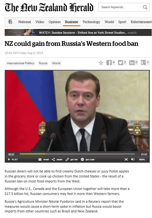 Making money out of human misery. New Zealand views the Russian sanctions as a trade opportunity.