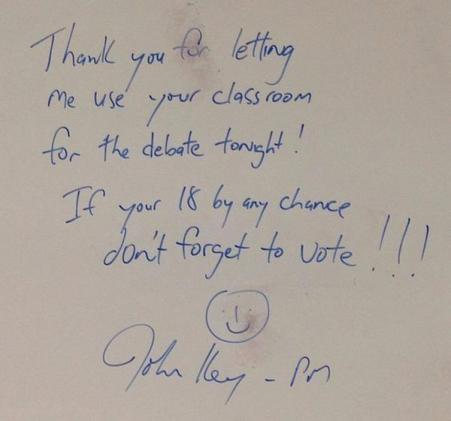 Key's note to the students of St Magaret's private school in Christchurch