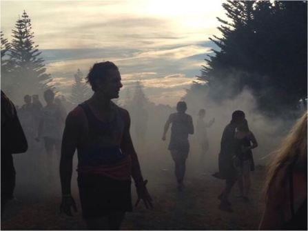 Smoke on the campsite, riot on the grass at Rhythm and Blues. (TVNZ)