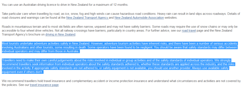 Australian travel advice about NZ