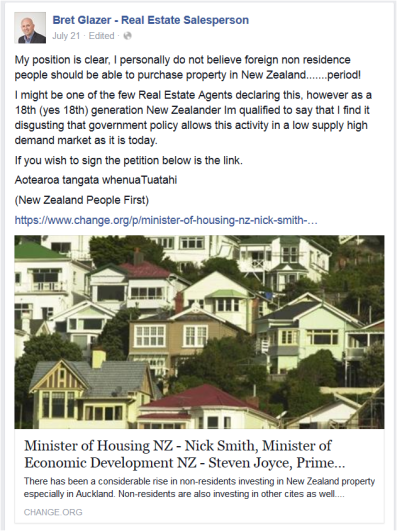 But would his principles prevent him from selling property to overseas investors? (which is perfectly legal in NZ)