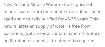 Miracle Water is untreated