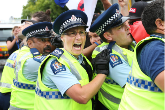 Police struggling with peaceful protesters at today's TPPA signing in Auckland