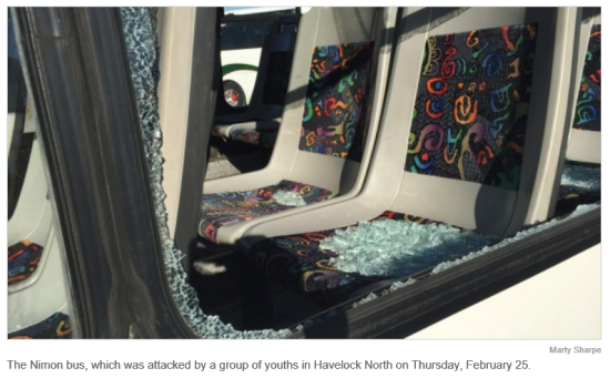 Havelock bus attacked by youths