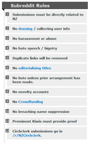 RNZs rules